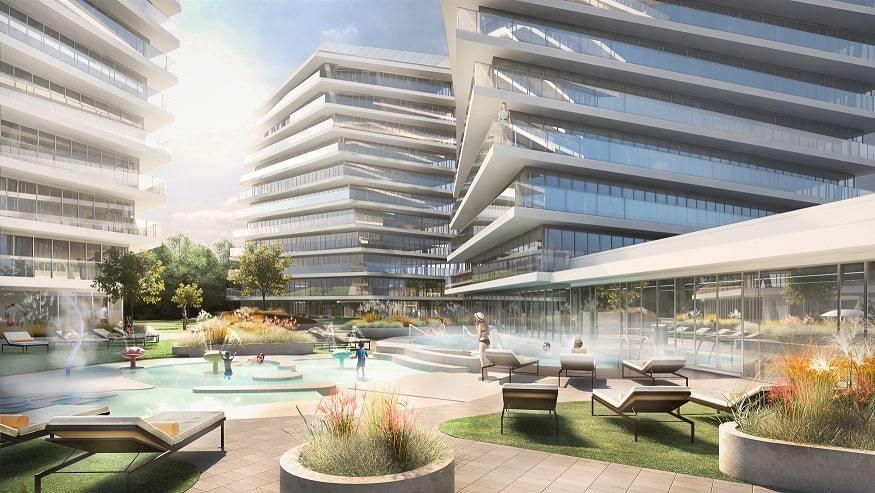 Plac między Wave Apartments Międzyzdroje