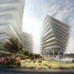 Widok na trzy budynki w Wave Apartments Międzyzdroje
