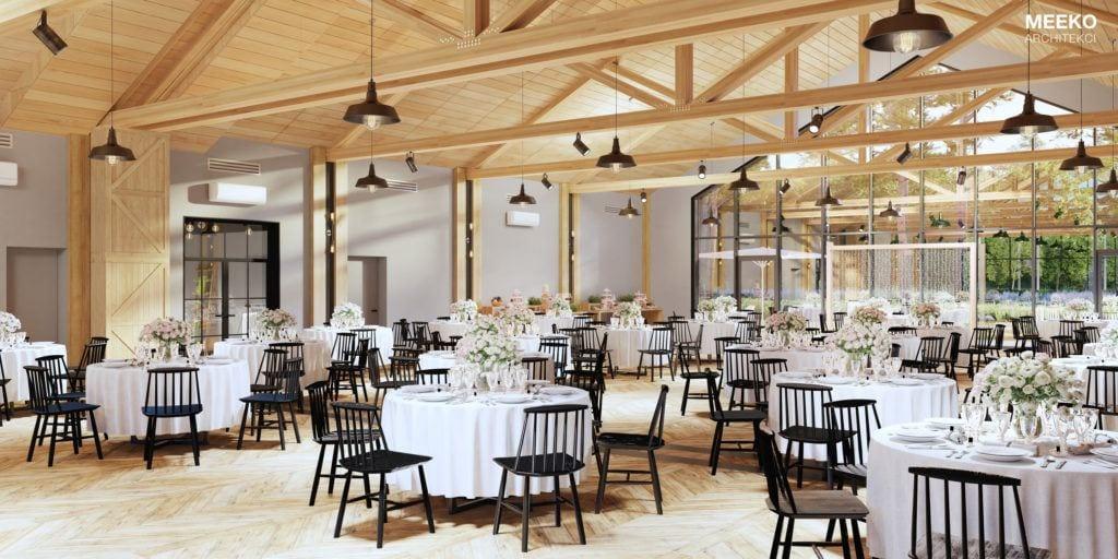 Zastawione stoły w domu Weselno-Eventowym Lubaszka projektu pracowni MEEKO