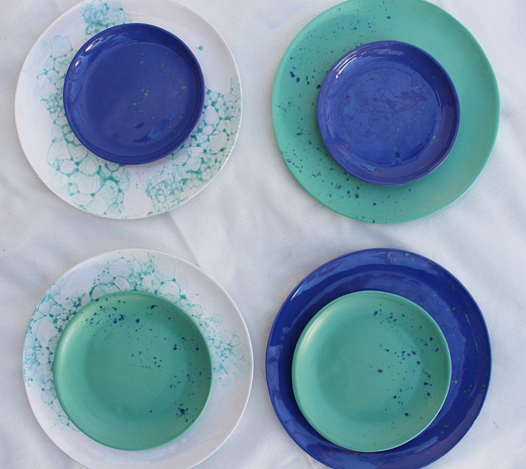Zielono-niebieskie talerze od M2K ceramika