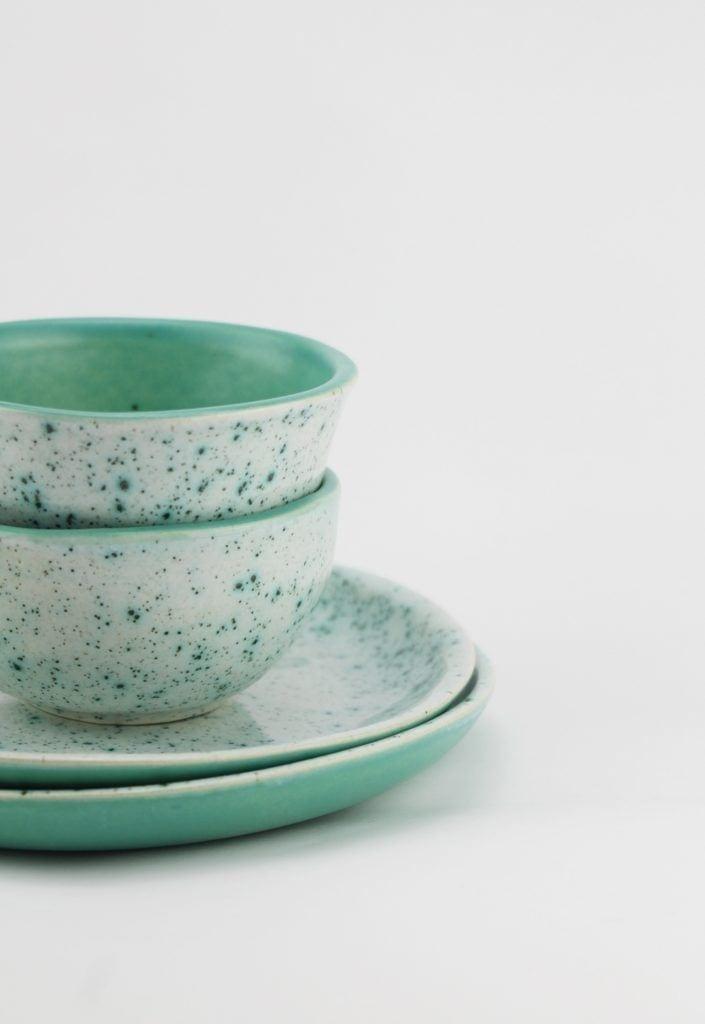 Zielone talerze i miski od M2K ceramika