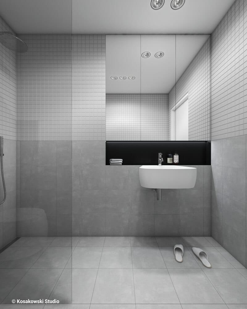 Łazienka w kawalerce Soft Loft projektu Kosakowski Studio