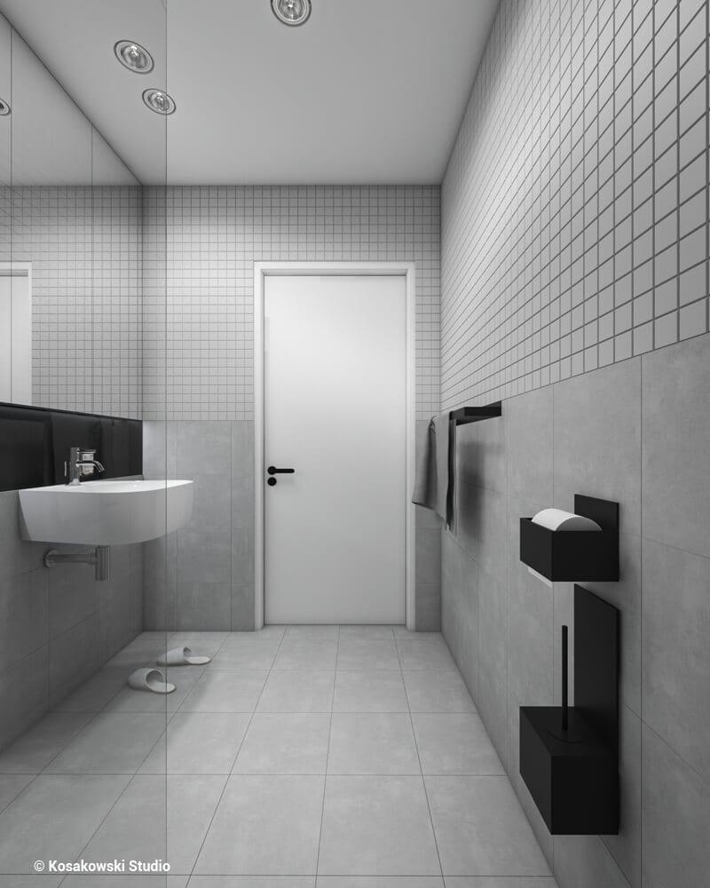 Szara łazienka w kawalerce Soft Loft projektu Kosakowski Studio