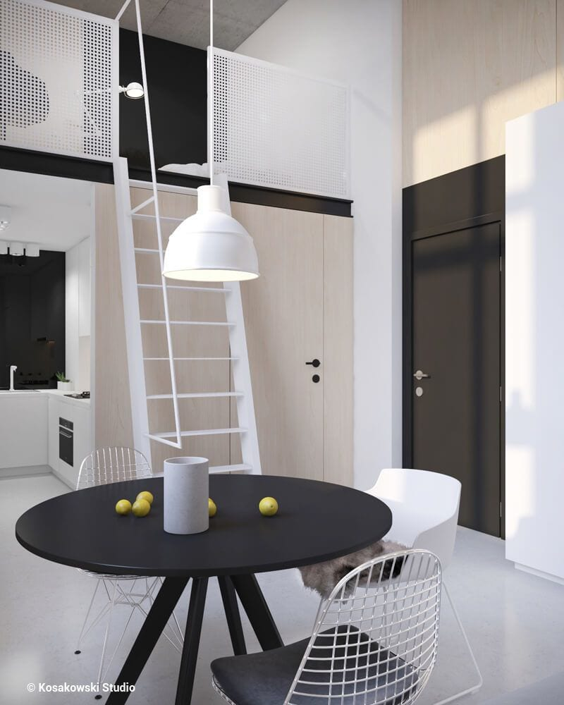 Sypialnia z antresolą w kawalerce Soft Loft projektu Kosakowski Studio