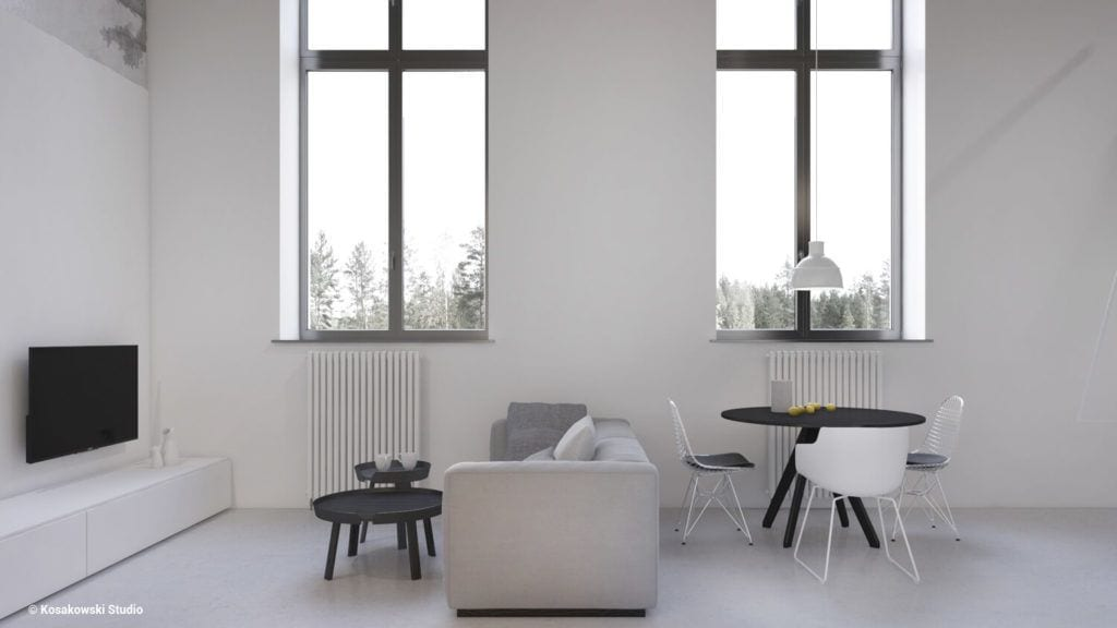 Jasny salon w kawalerce Soft Loft projektu Kosakowski Studio