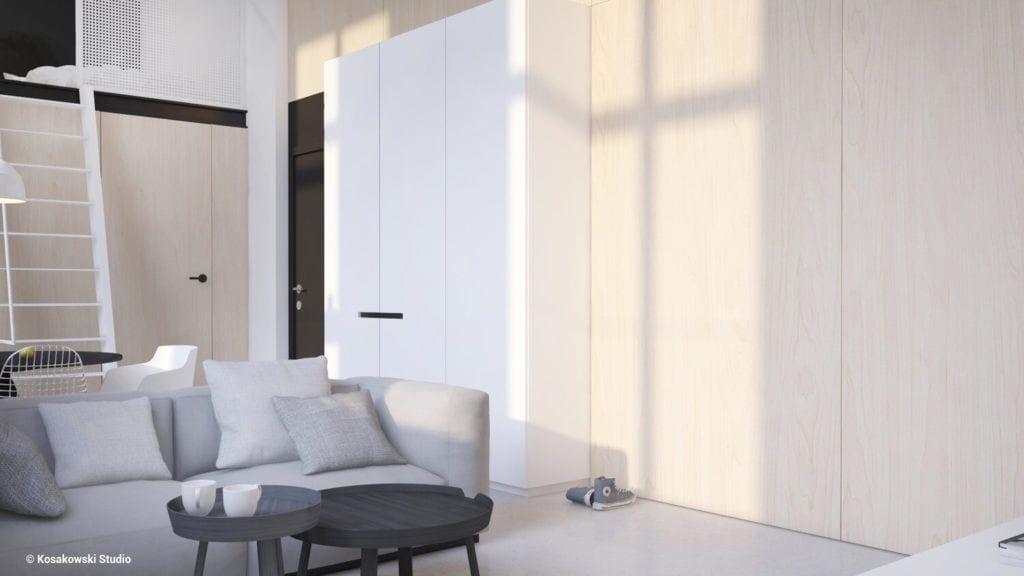 Salon w bieli w kawalerce Soft Loft projektu Kosakowski Studio