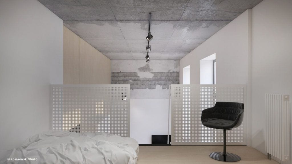 Sypialnia na antresoli w kawalerce Soft Loft projektu Kosakowski Studio