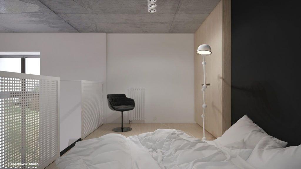 Jasna ściana w sypialni w kawalerce Soft Loft projektu Kosakowski Studio