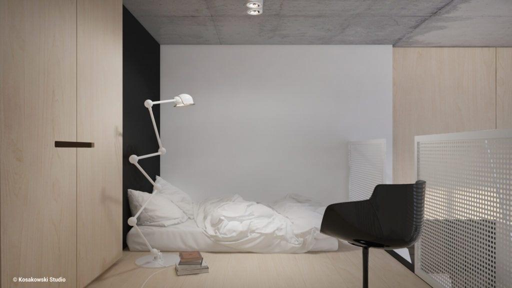 Lampa w salonie w kawalerce Soft Loft projektu Kosakowski Studio