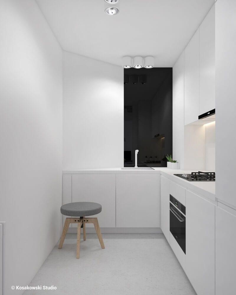 Kuchnia w kawalerce Soft Loft projektu Kosakowski Studio