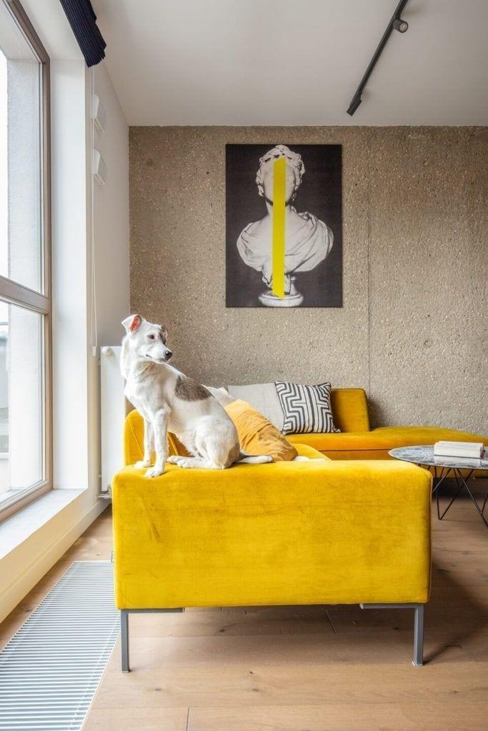 Żółty narożnik w salonie