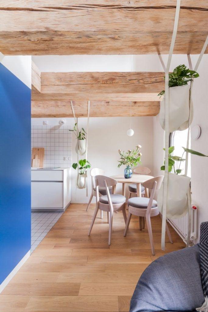Apartamenty Monka - Apartamenty Toruń - Biuro architektoniczne Znamy się - niebieska ściana w jadalni