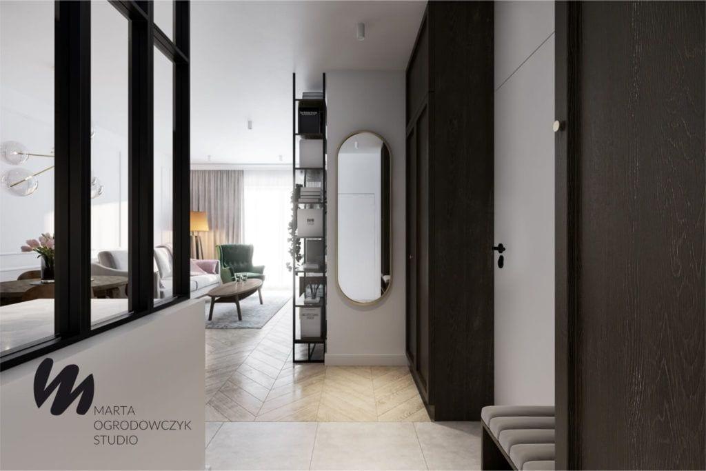Łódzkie mieszkanie w paryskim stylu - Marta Ogrodowczyk Studio - Marta Ogrodowczyk, Marta Piórkowska - przedpokój z pięknym lustrem
