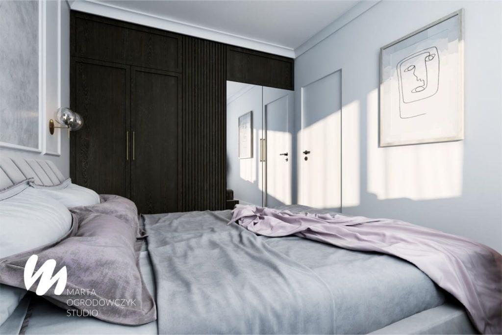 Łódzkie mieszkanie w paryskim stylu - Marta Ogrodowczyk Studio - Marta Ogrodowczyk, Marta Piórkowska - sypialnia z dużym łóżkiem
