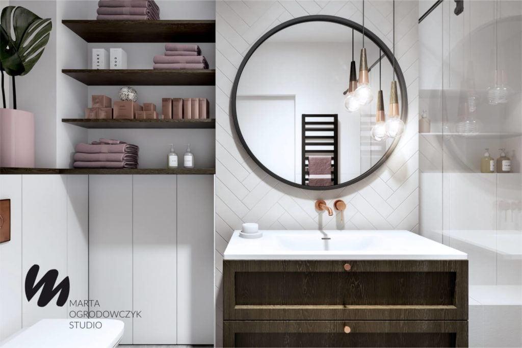 Łódzkie mieszkanie w paryskim stylu - Marta Ogrodowczyk Studio - Marta Ogrodowczyk, Marta Piórkowska - łazienka z okrągłym lustrem