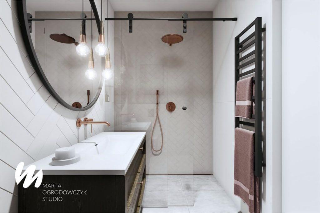 Łódzkie mieszkanie w paryskim stylu - Marta Ogrodowczyk Studio - Marta Ogrodowczyk, Marta Piórkowska - projekt łazienki