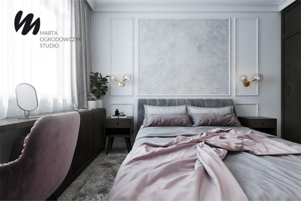 Łódzkie mieszkanie w paryskim stylu - Marta Ogrodowczyk Studio - Marta Ogrodowczyk, Marta Piórkowska - łóżko z różową narzutą