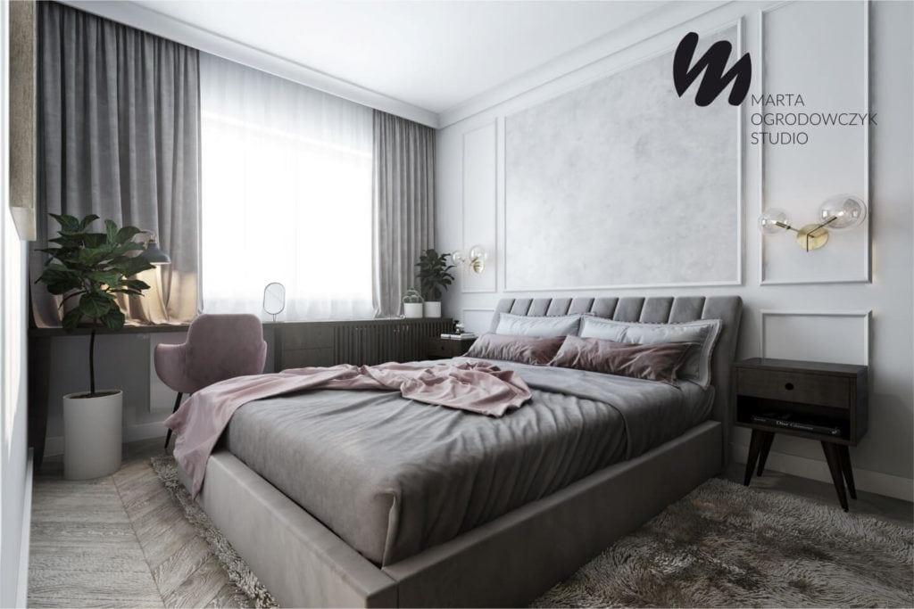Łódzkie mieszkanie w paryskim stylu - Marta Ogrodowczyk Studio - Marta Ogrodowczyk, Marta Piórkowska - duże łóżko w sypialni