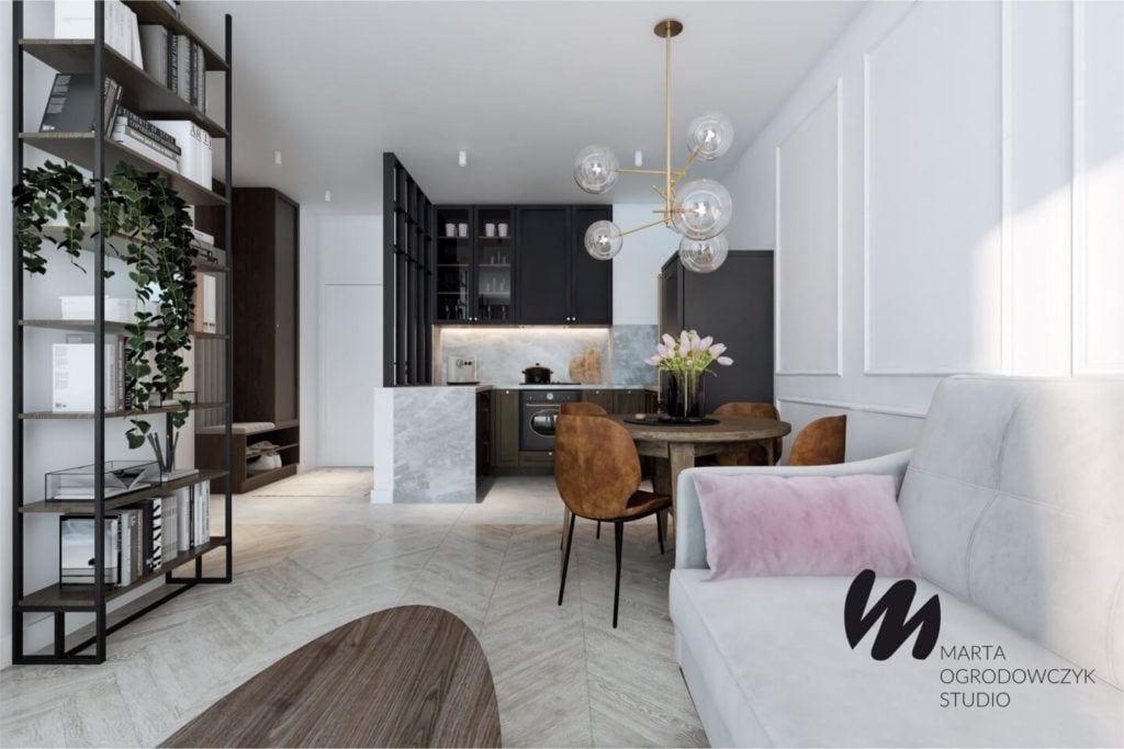Łódzkie mieszkanie w paryskim stylu - Marta Ogrodowczyk Studio - Marta Ogrodowczyk, Marta Piórkowska - salon z drewnianą podłogą