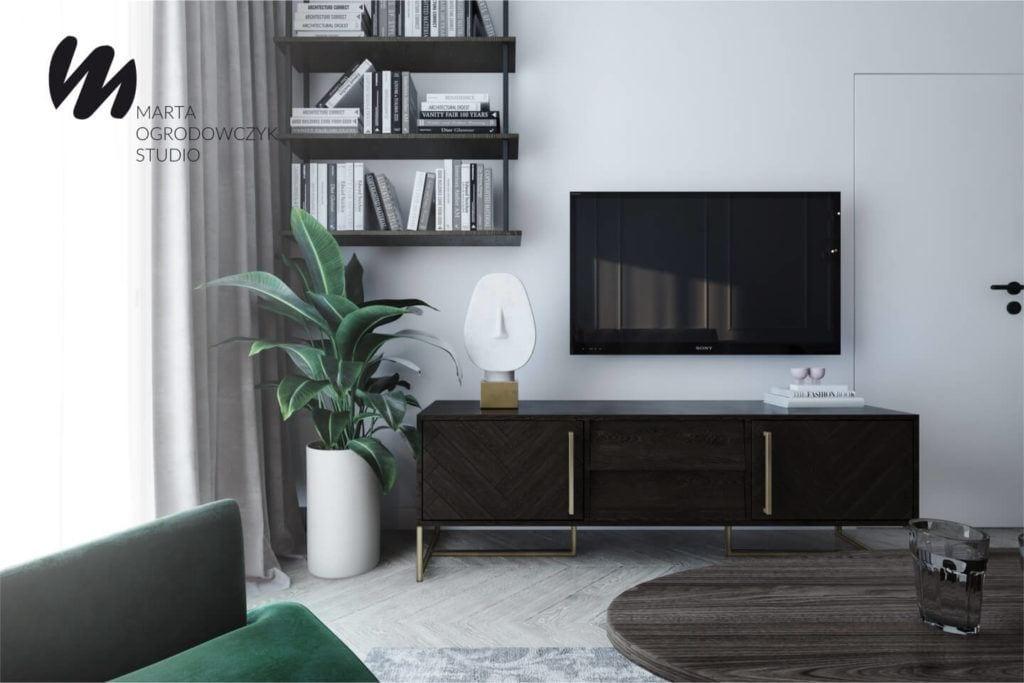 Łódzkie mieszkanie w paryskim stylu - Marta Ogrodowczyk Studio - Marta Ogrodowczyk, Marta Piórkowska - komoda w salonie