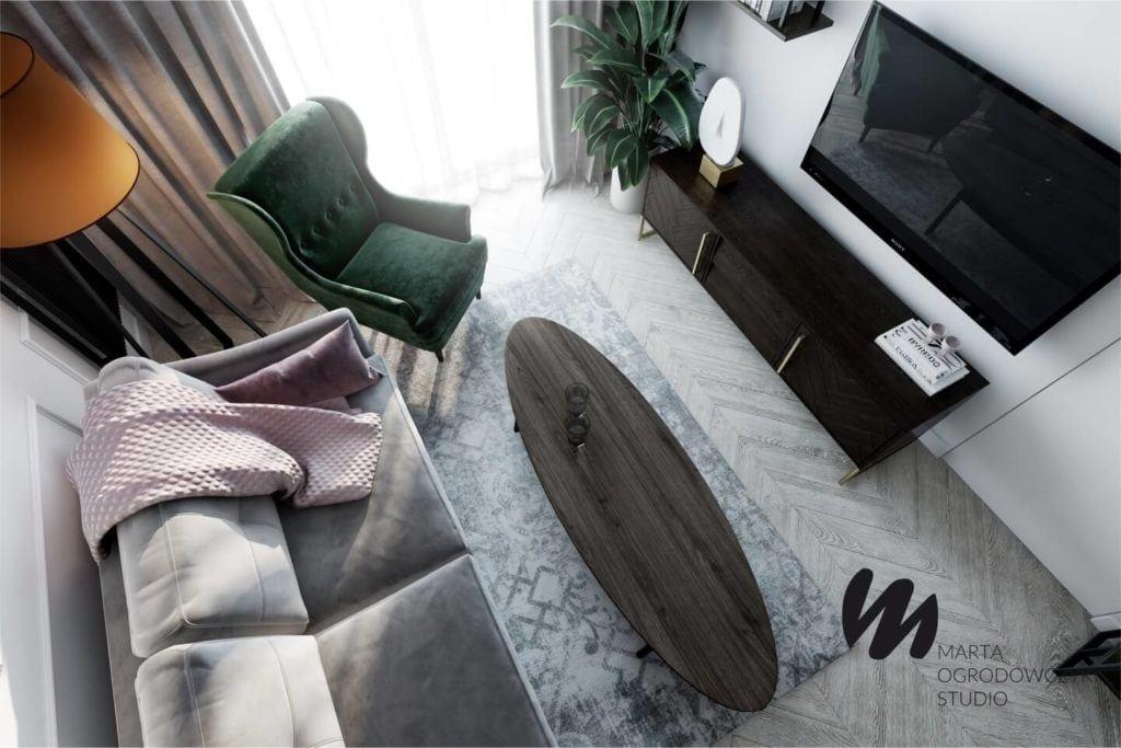 Łódzkie mieszkanie w paryskim stylu - Marta Ogrodowczyk Studio - Marta Ogrodowczyk, Marta Piórkowska - zielony fotel w salonie