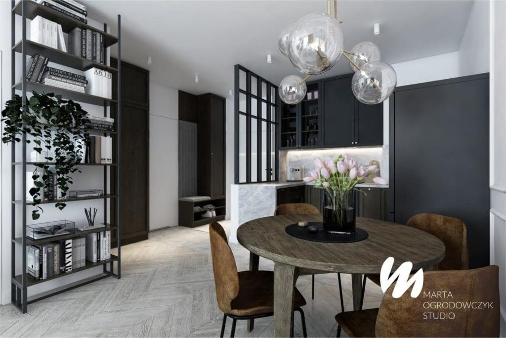 Łódzkie mieszkanie w paryskim stylu - Marta Ogrodowczyk Studio - Marta Ogrodowczyk, Marta Piórkowska - stół drewniany w salonie