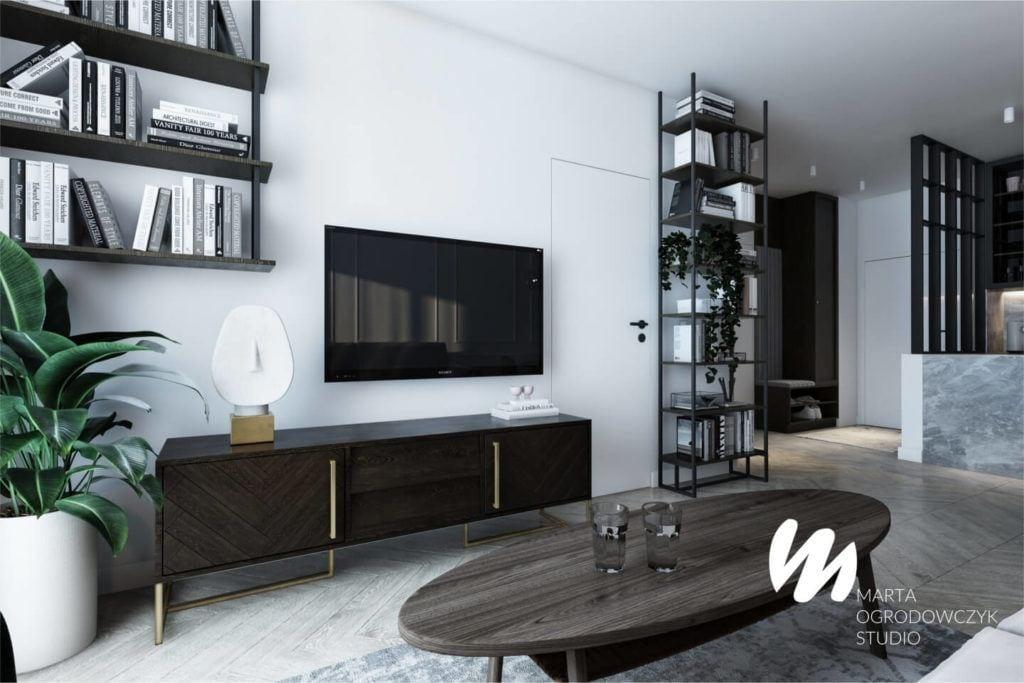 Łódzkie mieszkanie w paryskim stylu - Marta Ogrodowczyk Studio - Marta Ogrodowczyk, Marta Piórkowska - komoda z telewizorem
