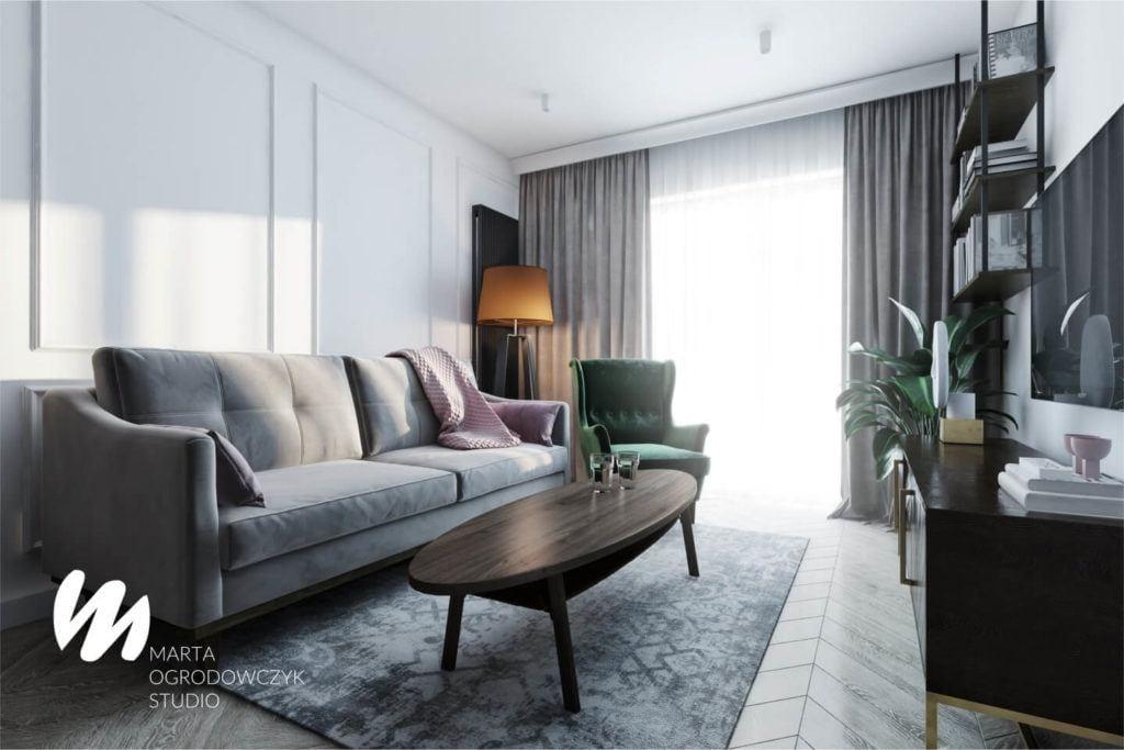 Łódzkie mieszkanie w paryskim stylu - Marta Ogrodowczyk Studio - Marta Ogrodowczyk, Marta Piórkowska - sofa w salonie