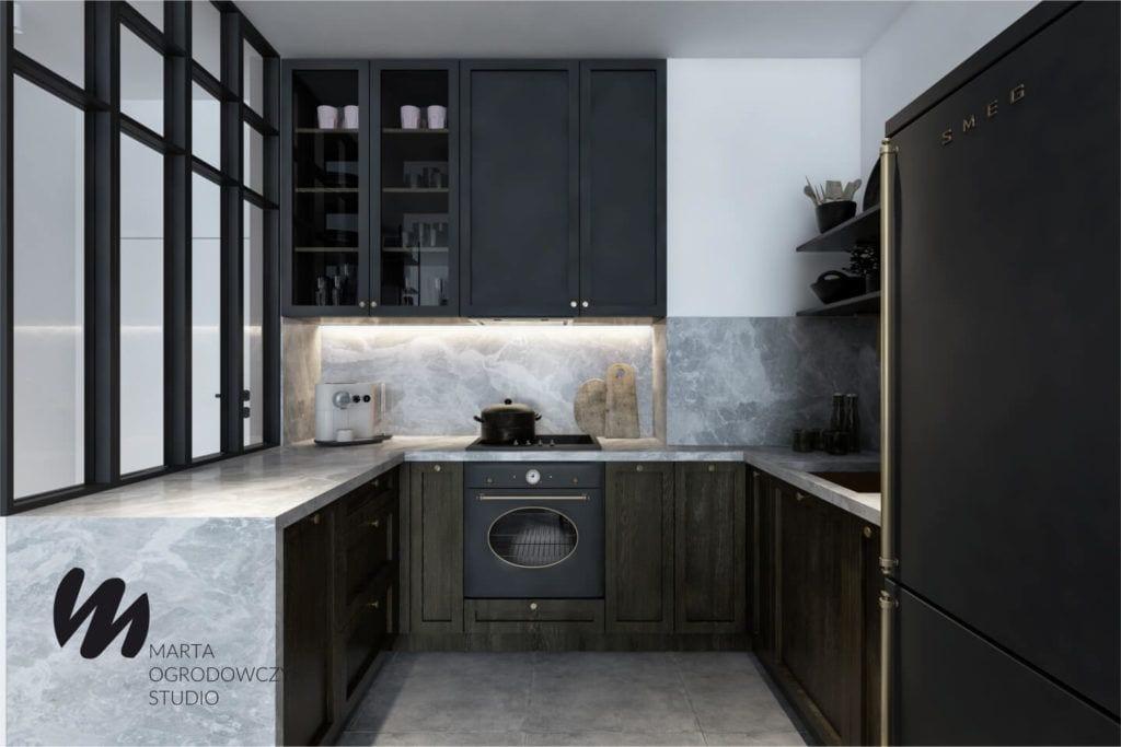 Łódzkie mieszkanie w paryskim stylu - Marta Ogrodowczyk Studio - Marta Ogrodowczyk, Marta Piórkowska - kuchnia
