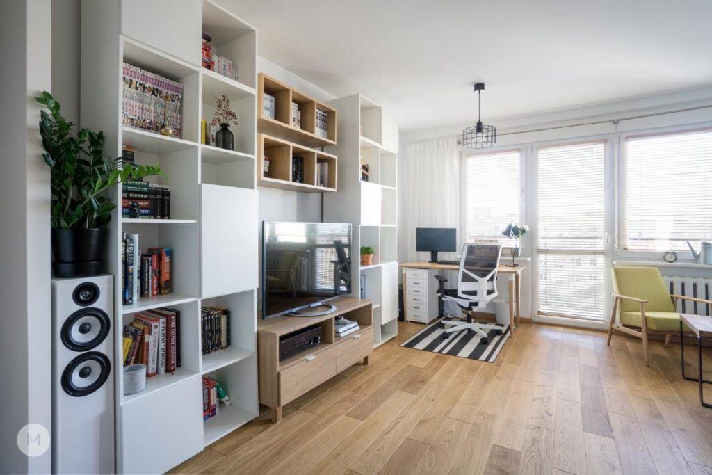 Salon w mieszkaniu w Pabianicach projektu pracowni PROJEKT M