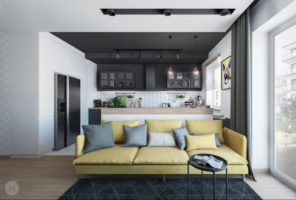 Nowoczesne mieszkanie na warszawskiej Ochocie projektu pracowni PROJEKT M - zielona kanapa w salonie