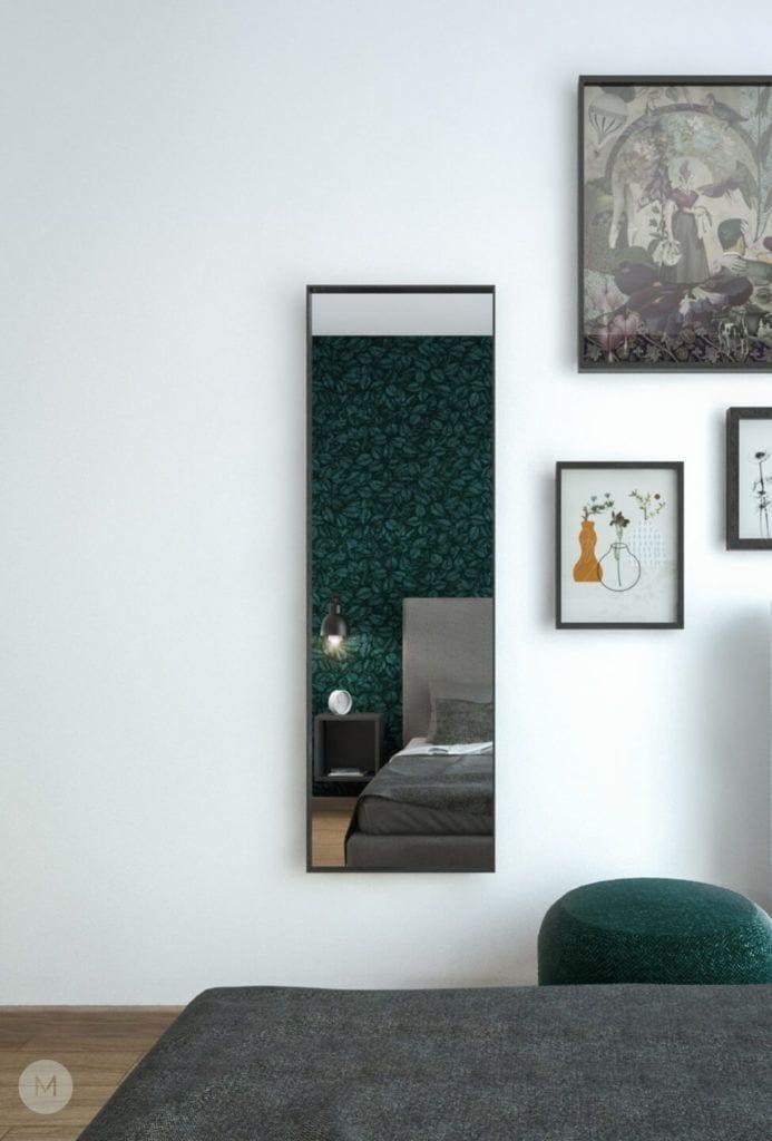 Nowoczesne mieszkanie na warszawskiej Ochocie projektu pracowni PROJEKT M - lustro w sypialni
