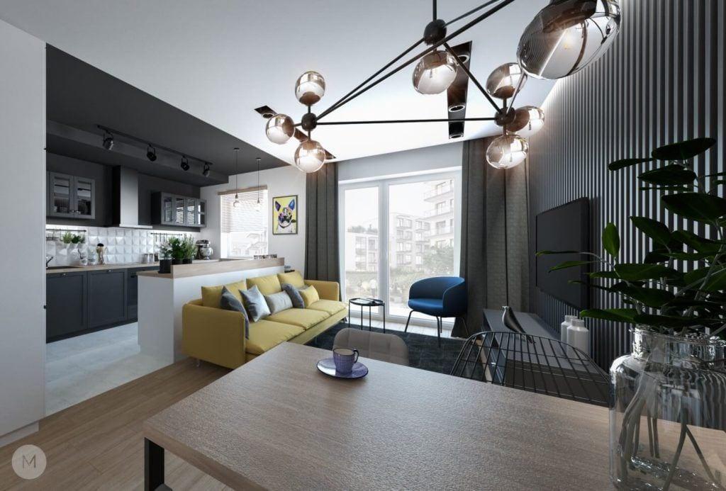 Nowoczesne mieszkanie na warszawskiej Ochocie projektu pracowni PROJEKT M - stół w salonie
