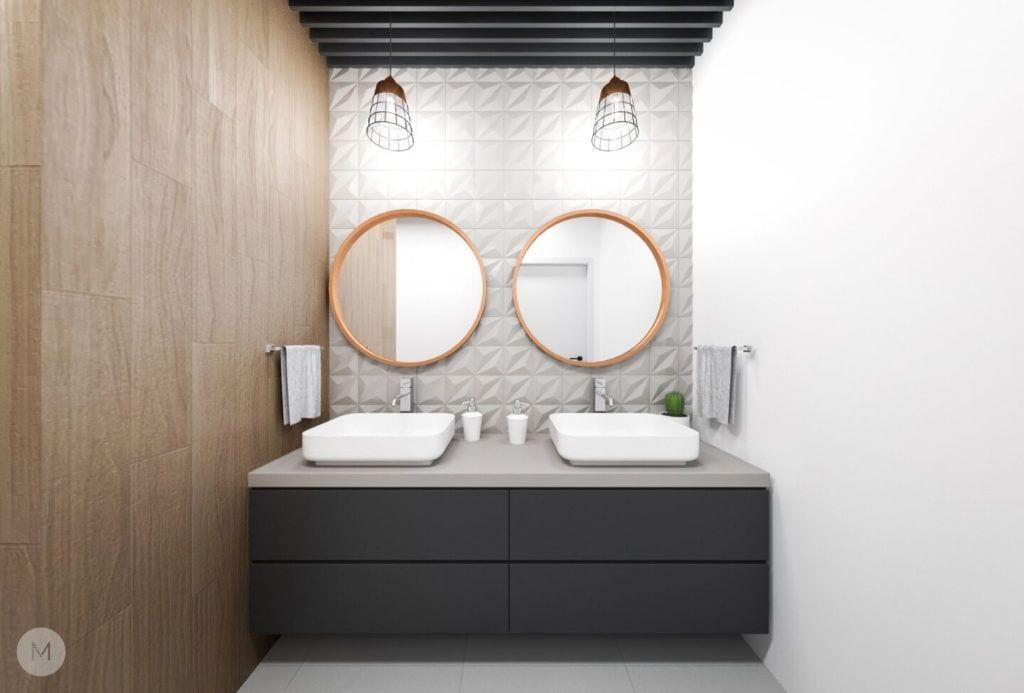Nowoczesne mieszkanie na warszawskiej Ochocie projektu pracowni PROJEKT M - dwa lustra w łazience