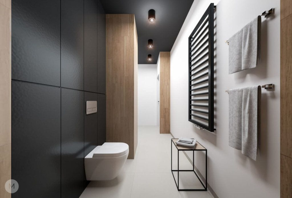 Nowoczesne mieszkanie na warszawskiej Ochocie projektu pracowni PROJEKT M - projekt łazienki