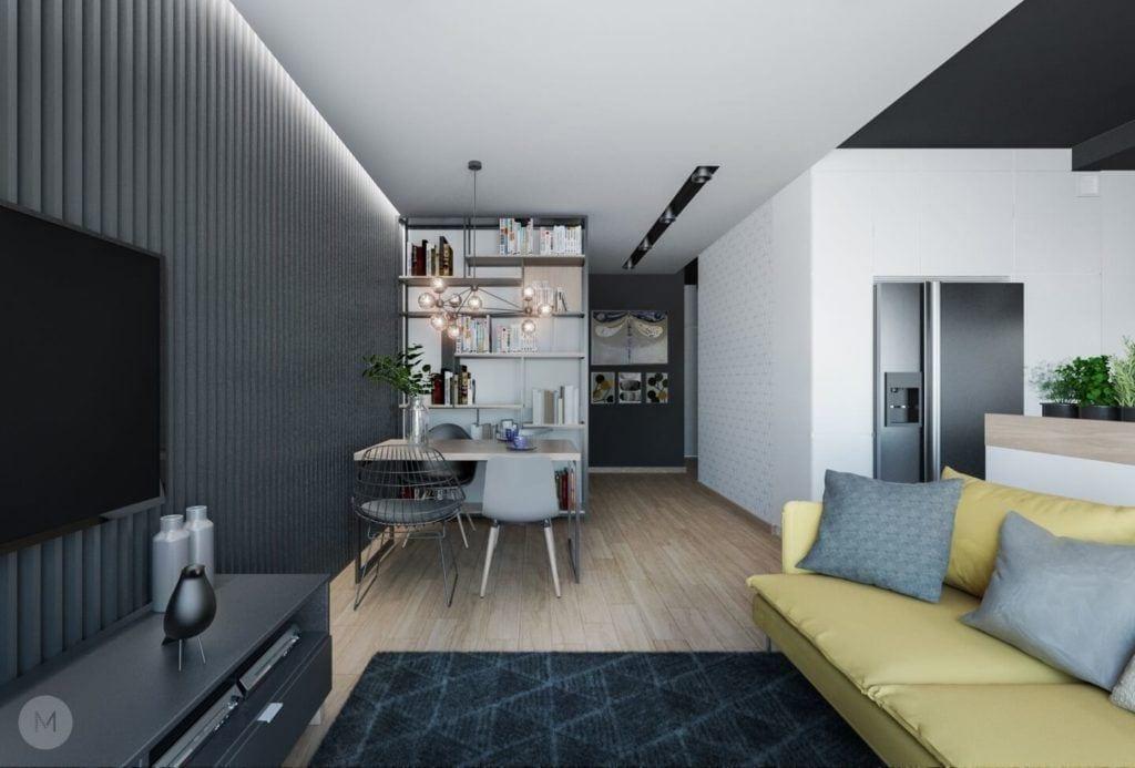Nowoczesne mieszkanie na warszawskiej Ochocie projektu pracowni PROJEKT M - pokój dzienny