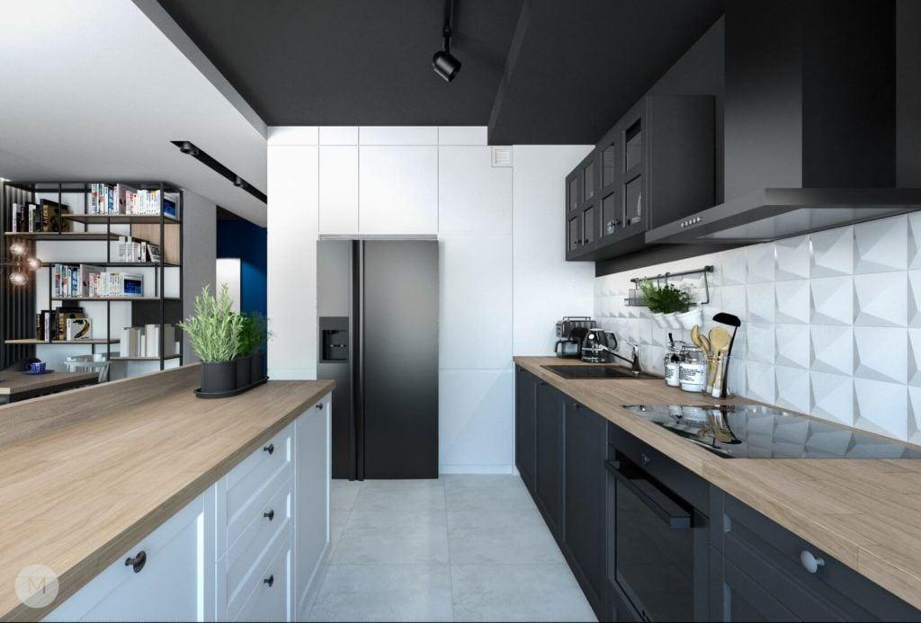 Nowoczesne mieszkanie na warszawskiej Ochocie projektu pracowni PROJEKT M - biało-czarna kuchnia
