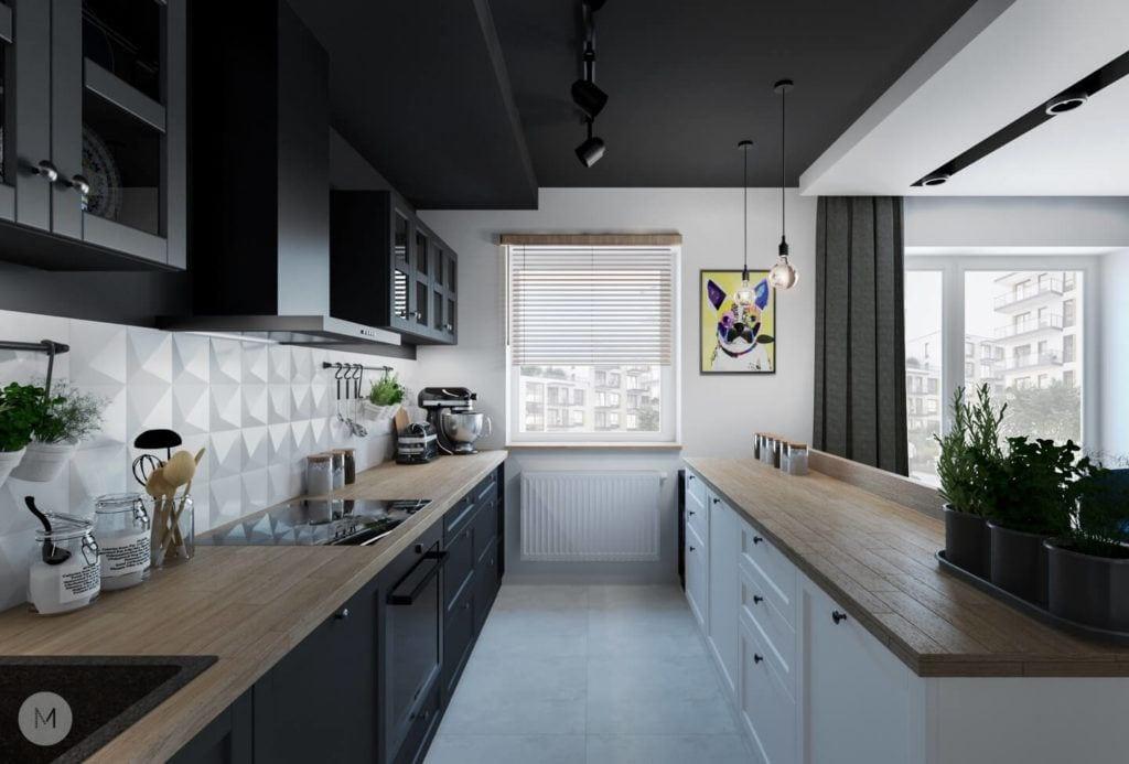 Nowoczesne mieszkanie na warszawskiej Ochocie projektu pracowni PROJEKT M - czarno-biała kuchnia