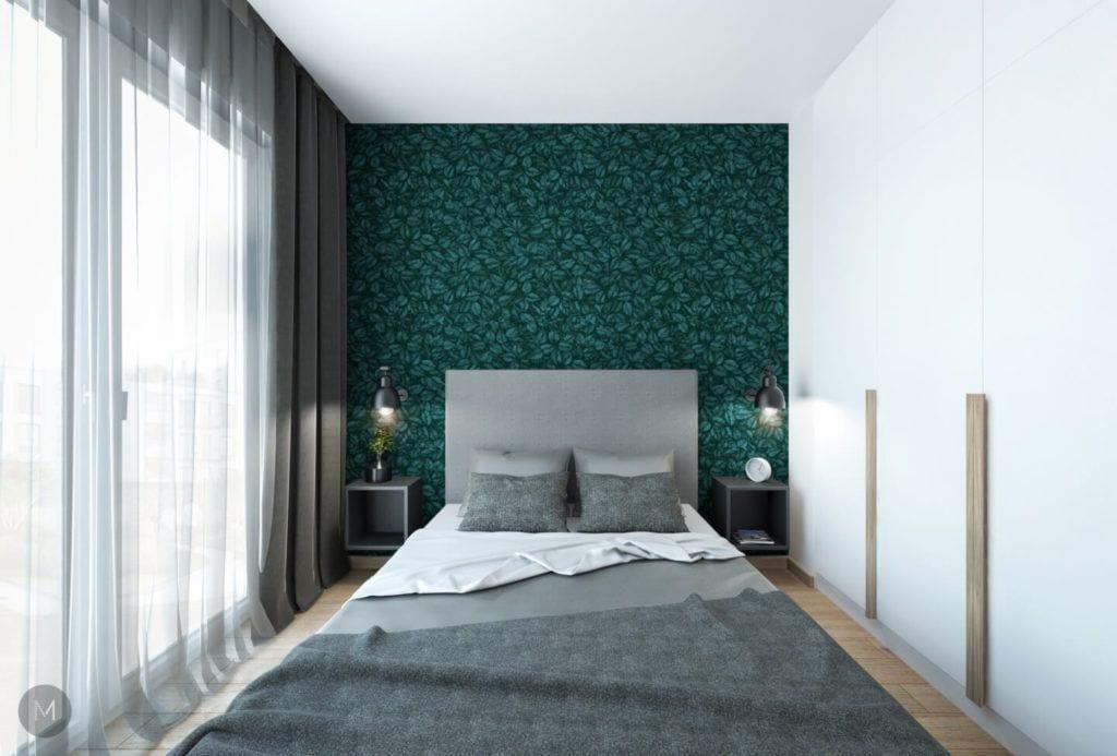 Nowoczesne mieszkanie na warszawskiej Ochocie projektu pracowni PROJEKT M - zielona ściana w sypialni