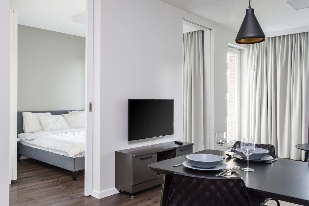 Pracownia Studio Poziom & salon Dekorian Home - minimalistyczny apartament w Gdańsku - foto Tomasz Nowicki Studio - telewizor w salonie