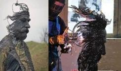 Rumuński artysta Darius Hulea i rzeźby z drutu