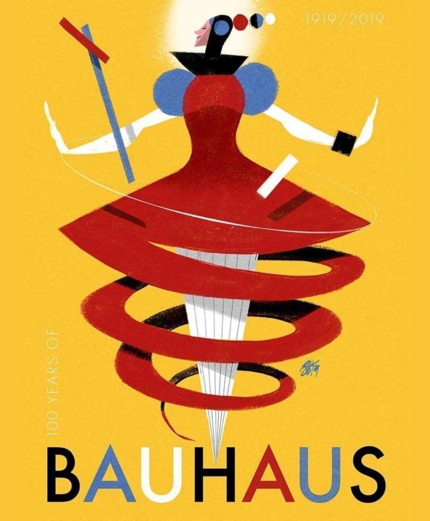 Walter Gropius i idee Bauhausu - Bauhaus 100 lat Baletu Triadycznego plakat Riccarda Guasco