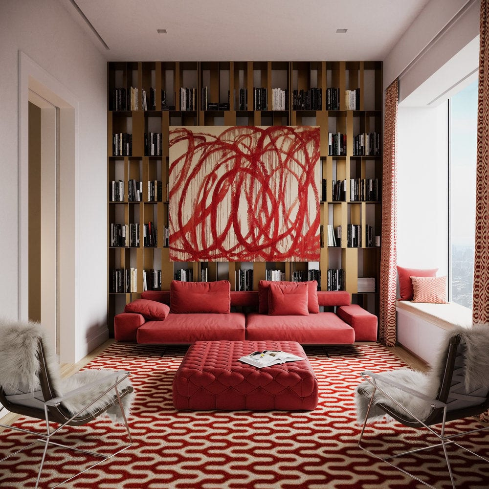 Apartament przy 432 Park Avenue w Nowym Yorku projekt John Beckmann - Axis Mundi - biało-czarny korytarz - obraz na ścianie w salonie