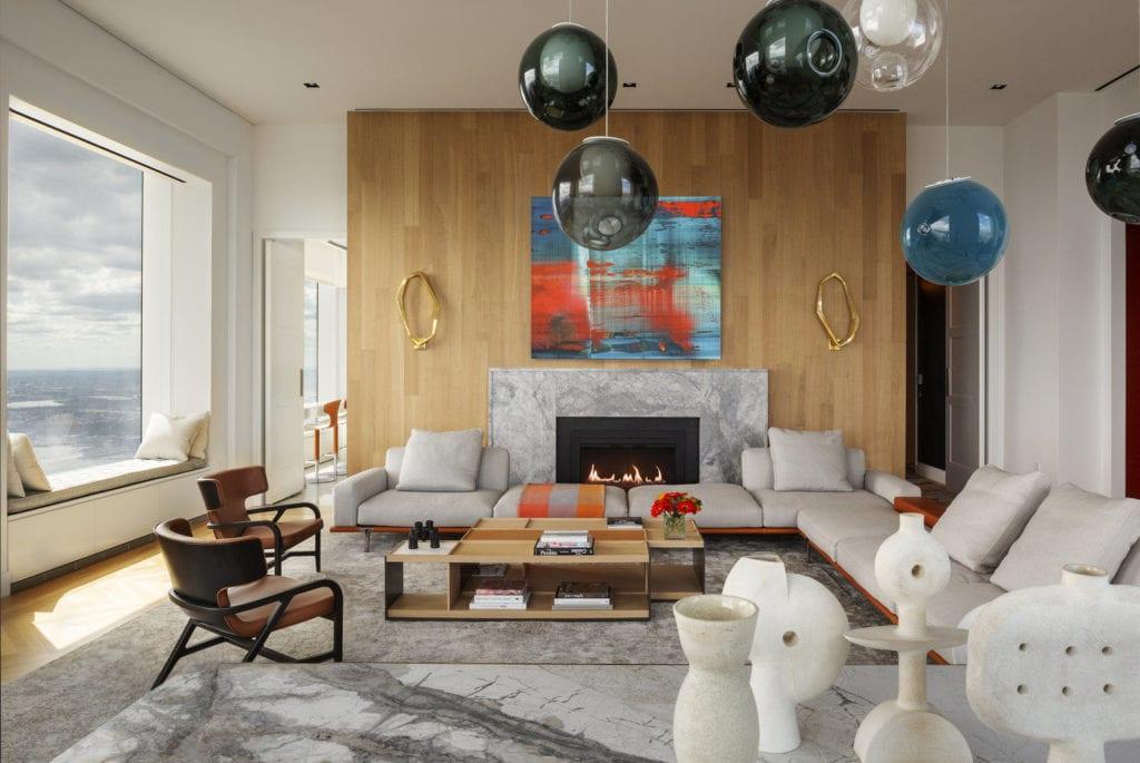 Apartament przy 432 Park Avenue w Nowym Yorku projekt John Beckmann - Axis Mundi - salon