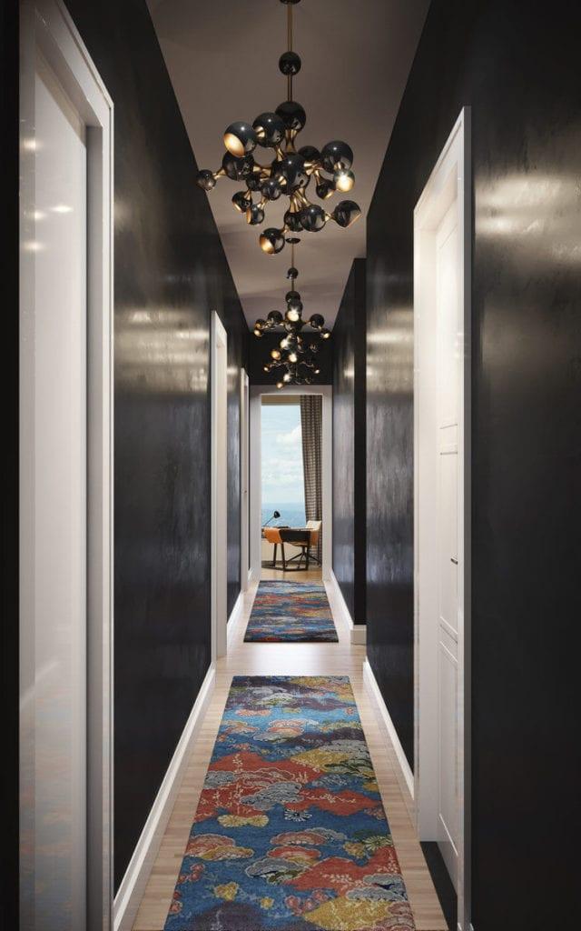Apartament przy 432 Park Avenue w Nowym Yorku projekt John Beckmann - Axis Mundi - biało-czarny korytarz