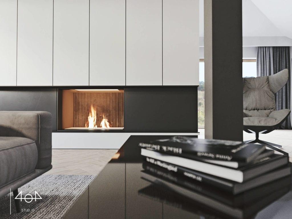 Orange is the new grey od pracowni 404Stud.io - projekt piętra domu jednorodzinnego - kominek w salonie