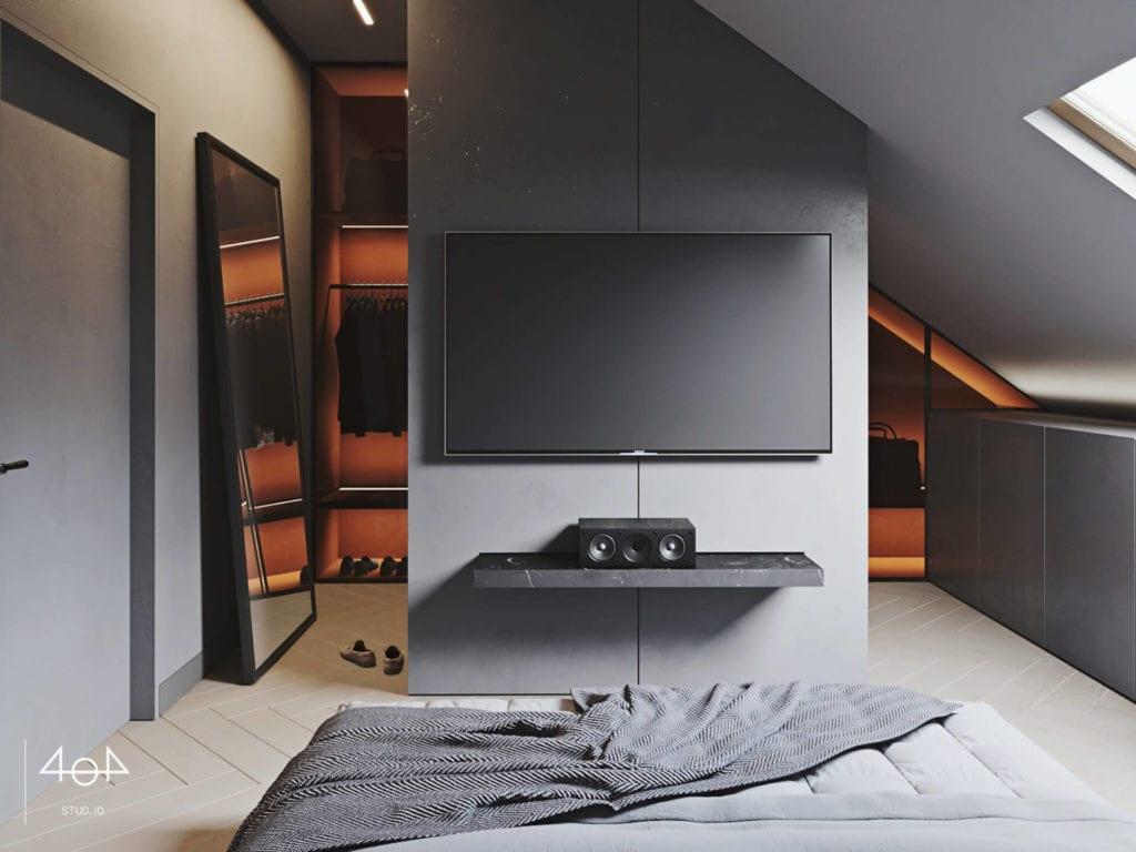 Orange is the new grey od pracowni 404Stud.io - projekt piętra domu jednorodzinnego - telewizor plazmowy na ścianie