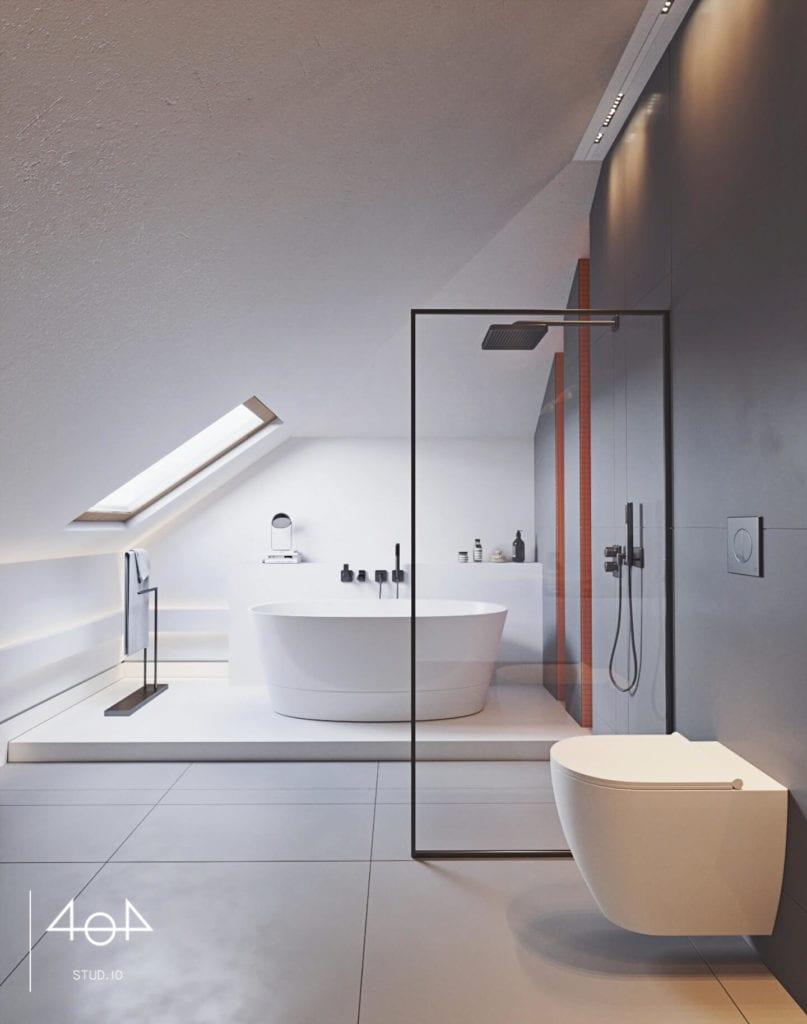 Orange is the new grey od pracowni 404Stud.io - projekt piętra domu jednorodzinnego - kabina prysznicowa w łazience