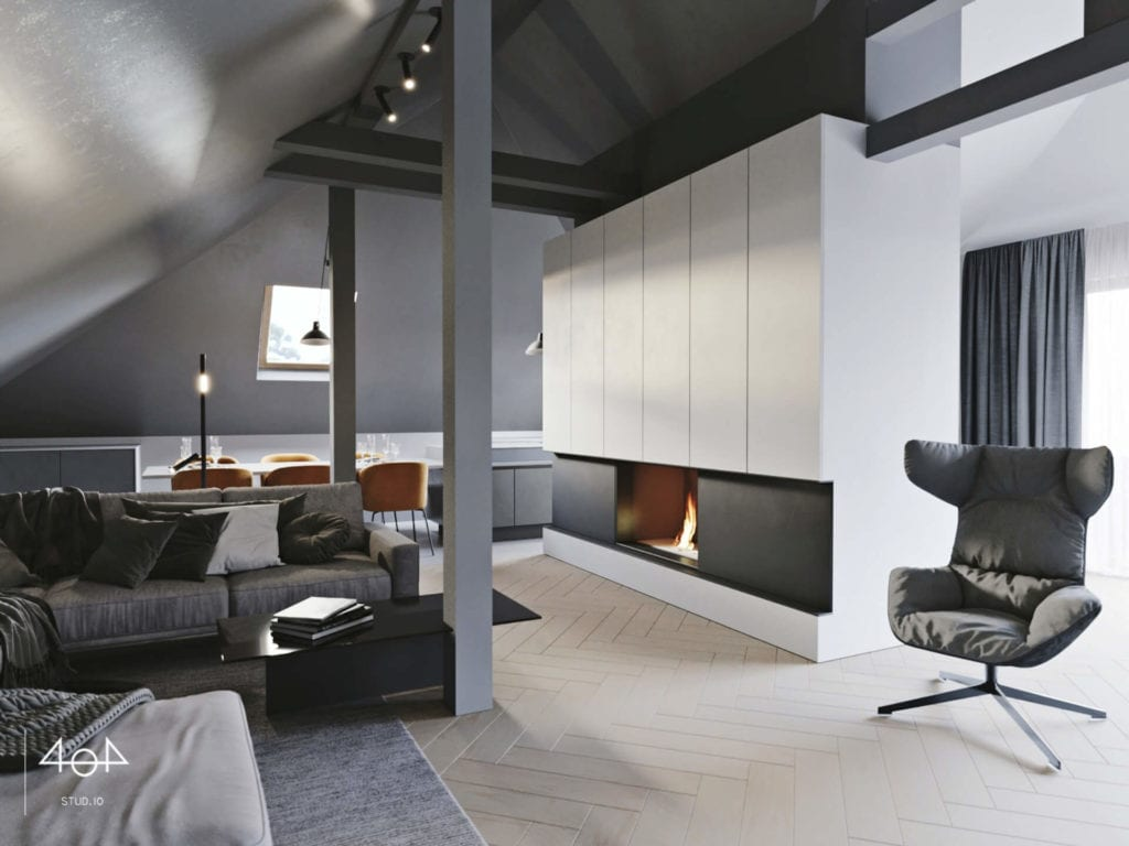 Orange is the new grey od pracowni 404Stud.io - projekt piętra domu jednorodzinnego - salon