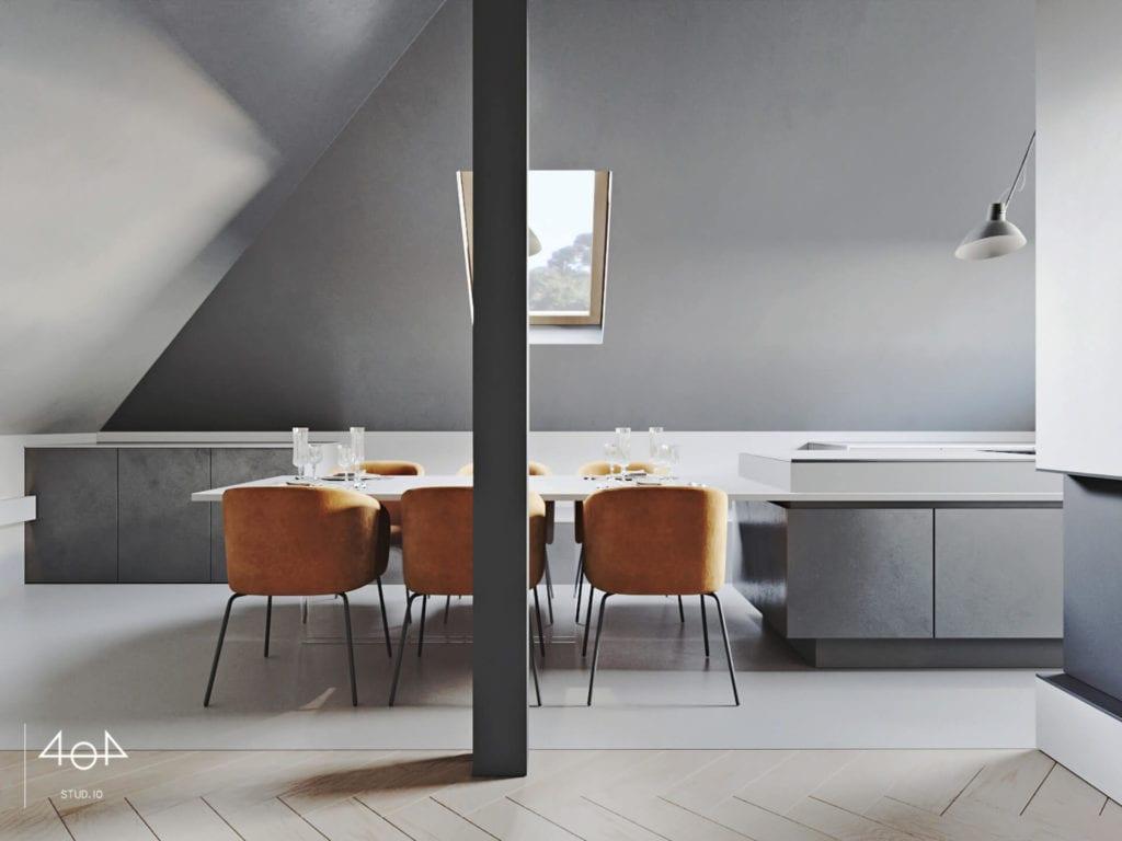 Orange is the new grey od pracowni 404Stud.io - projekt piętra domu jednorodzinnego - krzesła w salonie